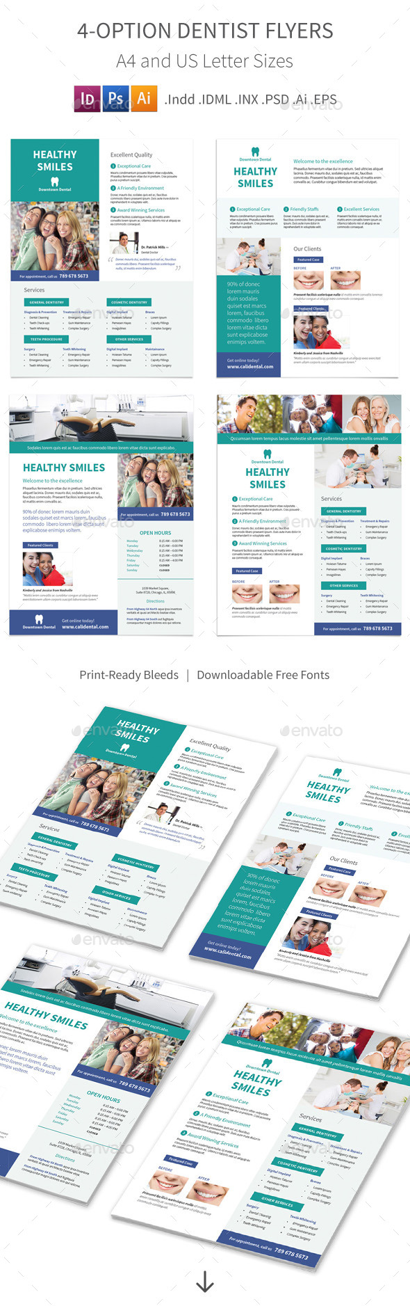 Dentist Flyers – 4 Options - Commerce Flyers
