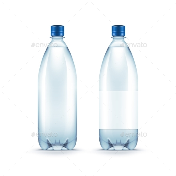 Vector Blank Plastic Blue Water Bottle Isolated - Miscellaneous Vectors