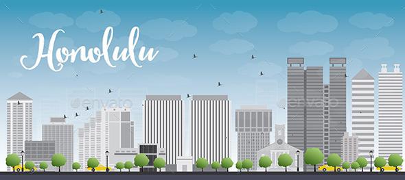Honolulu Hawaii Skyline with Grey Buildings - Buildings Objects