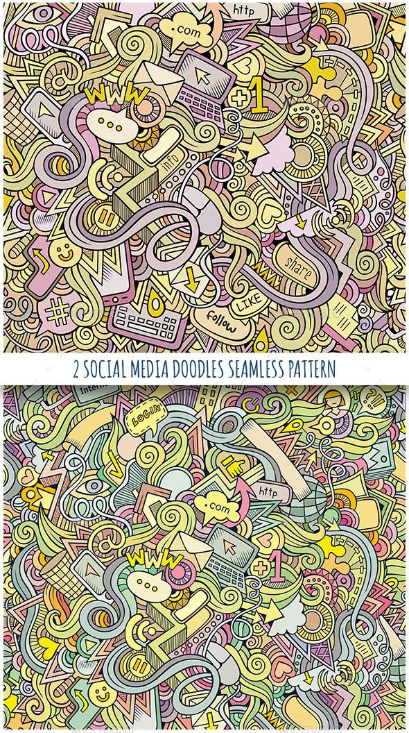2 Social Doodles Seamless Pattern - Web Elements Vectors