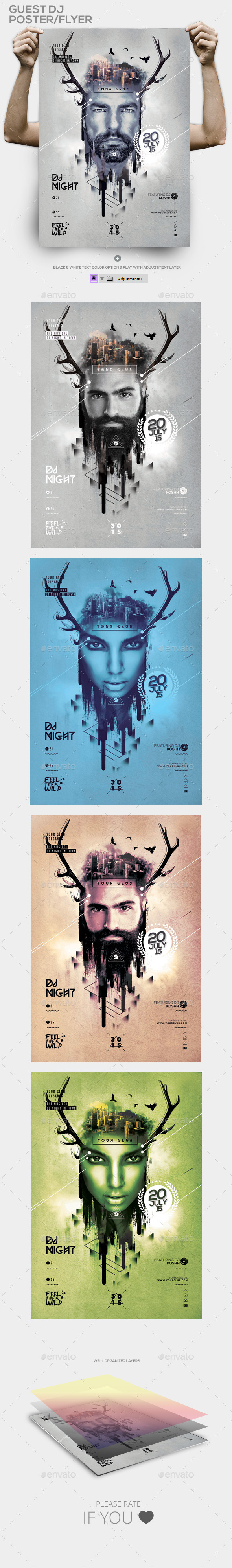 Hipster Guest Dj Template PSD Flyer/Poster - Events Flyers