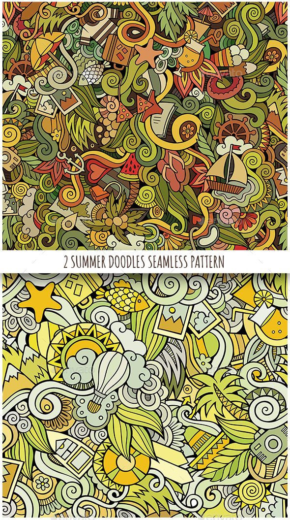 2 Summer Holidays Doodles Seamless Patterns - Seasons Nature