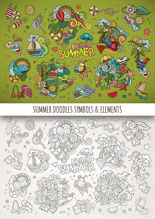 Hand Drawn Summer Doodle Symbols - Seasons Nature
