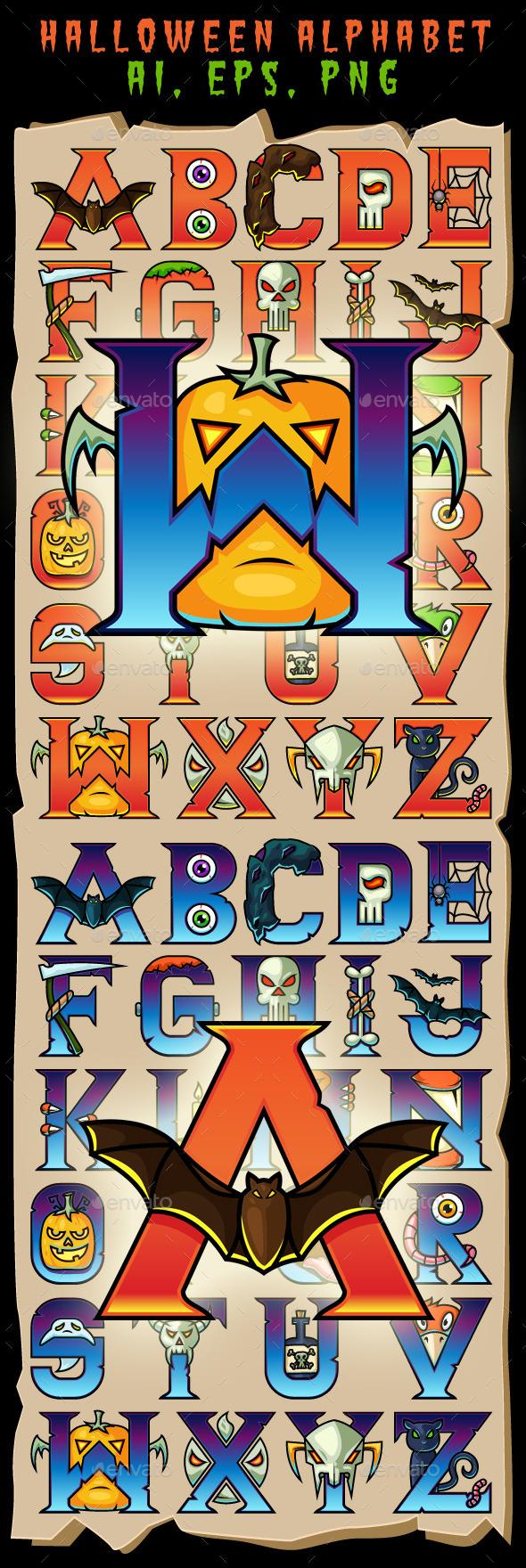 Halloween Alphabet Letters - Halloween Seasons/Holidays