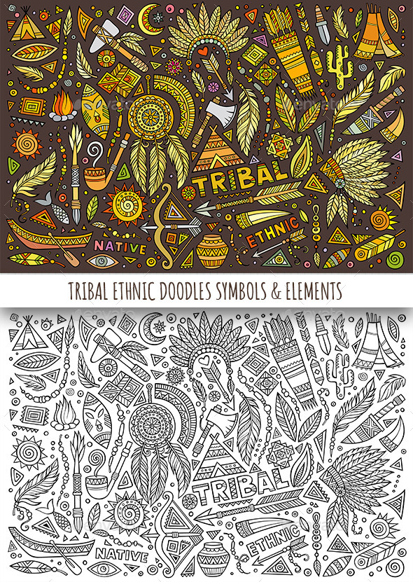 Tribal Ethnic Doodles Elements - Decorative Symbols Decorative