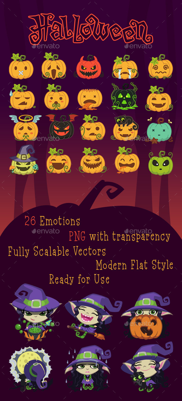 Pumpkins and Witches Emotion Pack - Monsters Characters