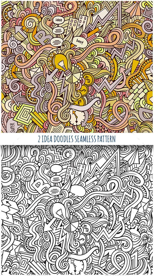 2 Idea Doodles Seamless Pattern - Backgrounds Decorative