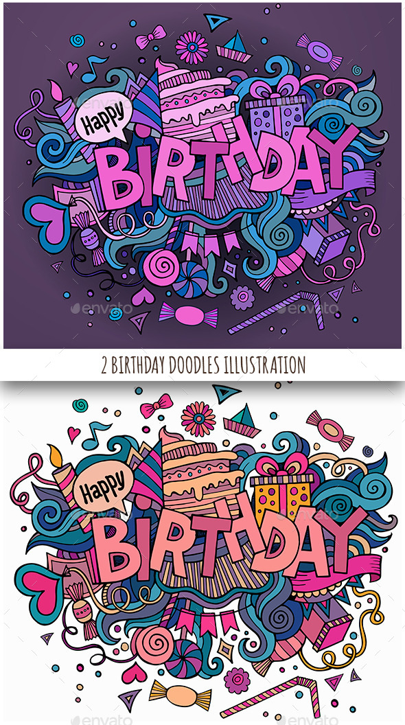 2 Birthday Doodles Designs - Birthdays Seasons/Holidays