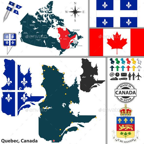 Map of Quebec, Canada - Travel Conceptual