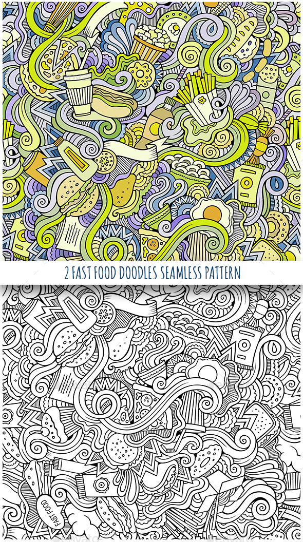 3 Fast Food Doodles Seamless Patterns - Food Objects