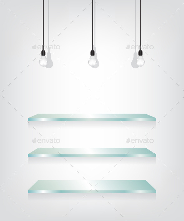 Glass Shelves and Bulbs - Backgrounds Decorative