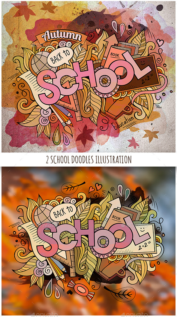2 School Doodles Designs - Miscellaneous Seasons/Holidays