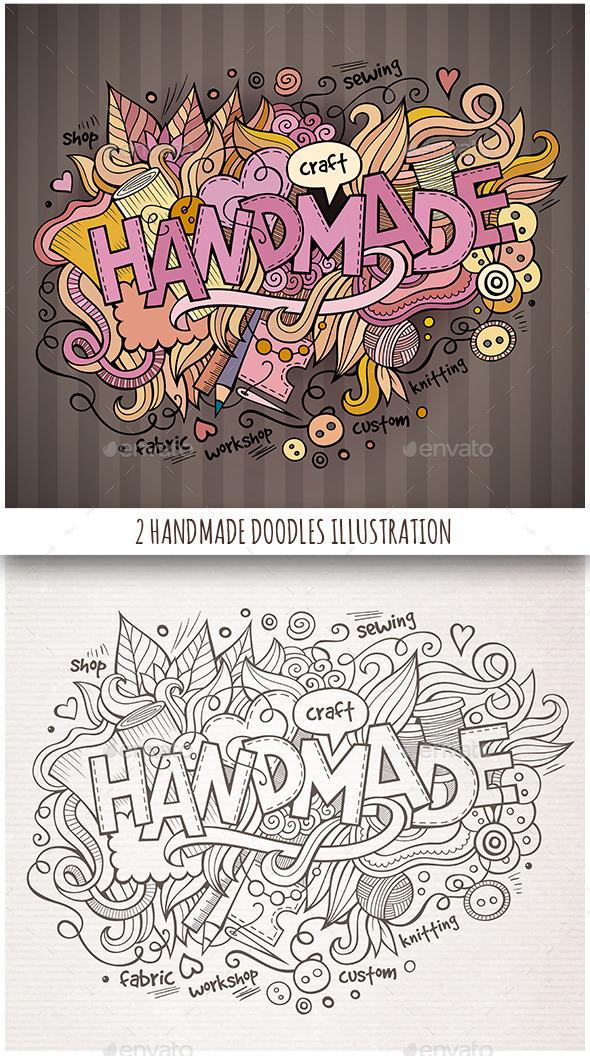 2 Handmade Doodles Designs - Backgrounds Decorative