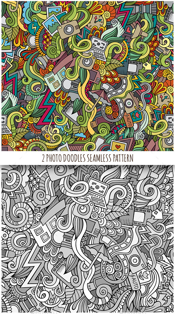 2 Photography Doodles Seamless Patterns - Backgrounds Decorative