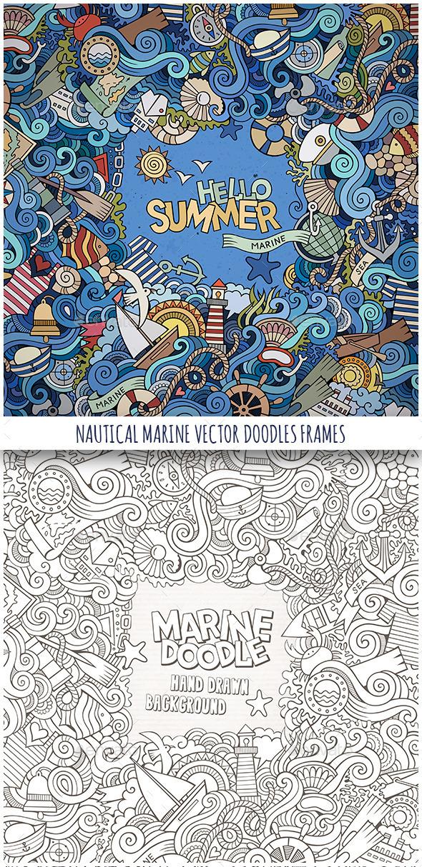 2 Nautical Marine Doodles Frames - Borders Decorative