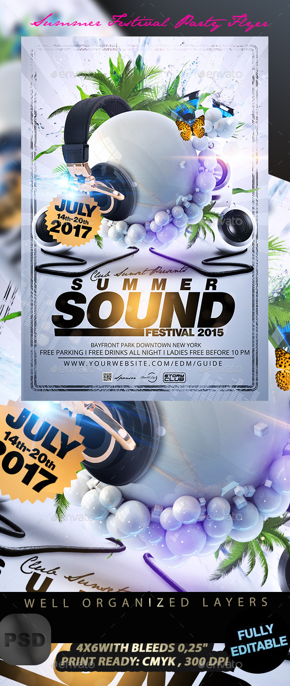 Summer Festival Party Flyer - Events Flyers