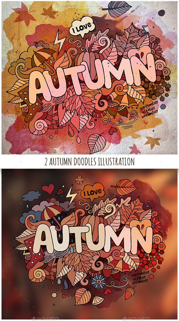 2 Autumn Doodles Designs - Seasons Nature