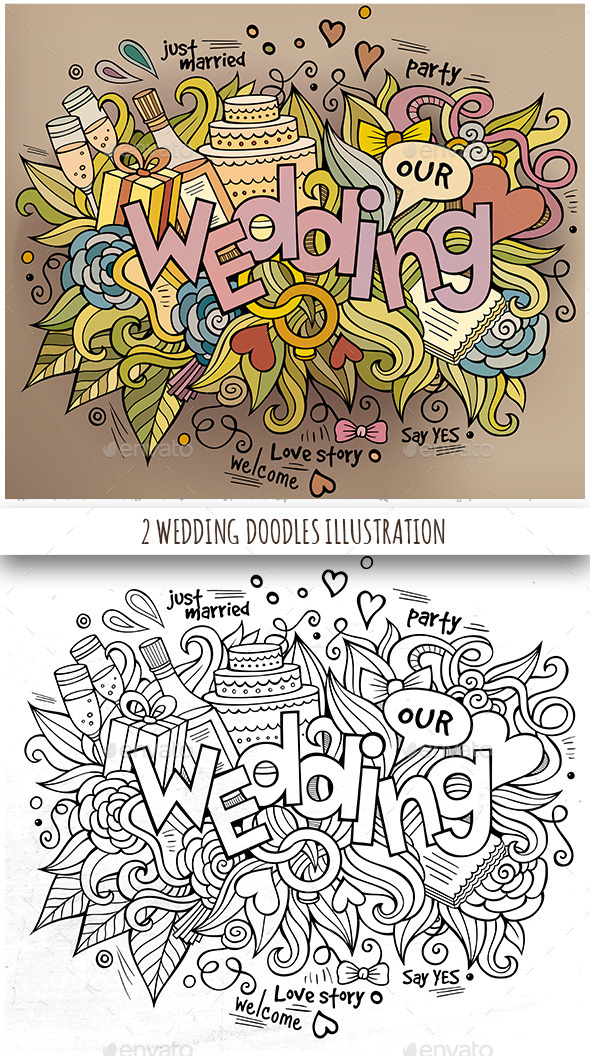 2 Wedding Doodles Designs - Weddings Seasons/Holidays