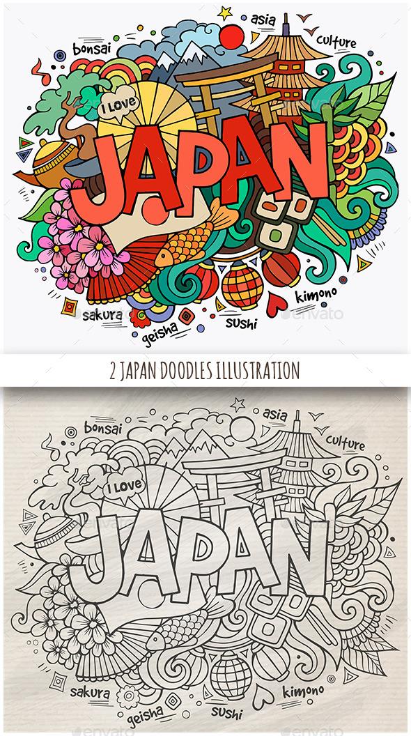 2 Japan Doodles Designs - Travel Conceptual