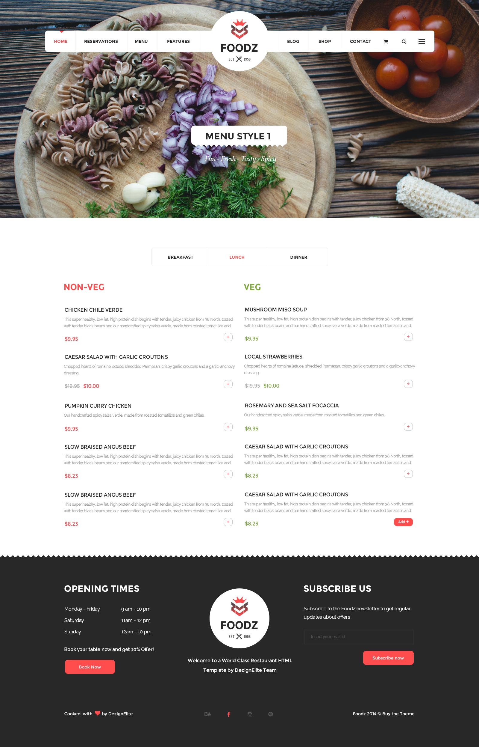 Foodz Restaurant Spa Salon Joomla Template By Templaza