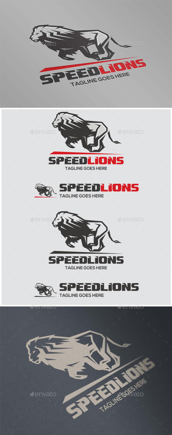 Speed Lions - Animals Logo Templates