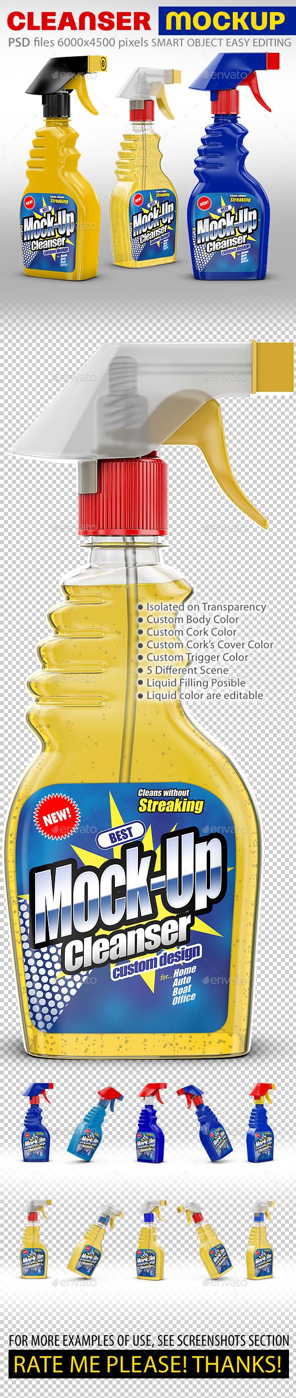 Cleanser Bottle Mockups. Liquid filling possible.  - Packaging Product Mock-Ups