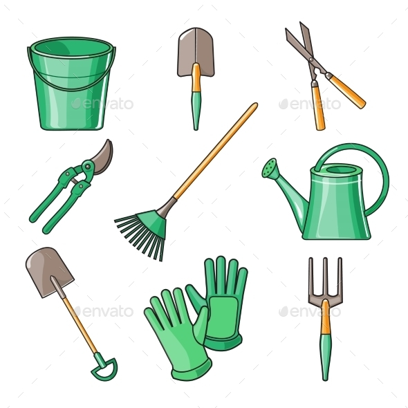 Garden Tools Flat Design Illustration - Man-made Objects Objects