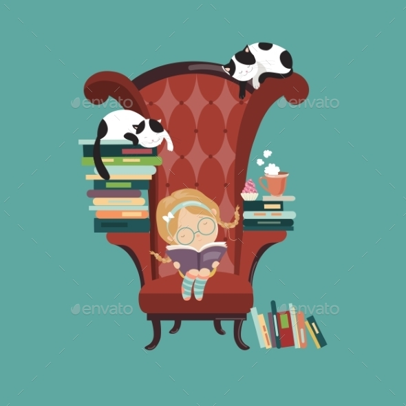 Little Girl Reading a Book - People Characters