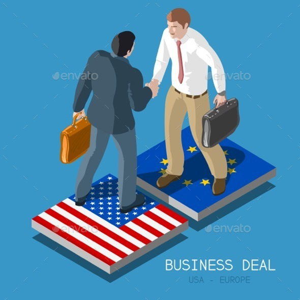 USA Europe Deal People Isometric - People Characters