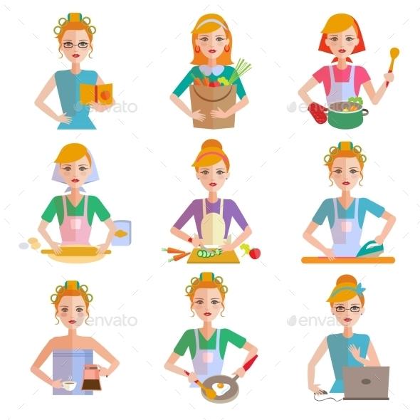 Housewife Icon Set - People Characters