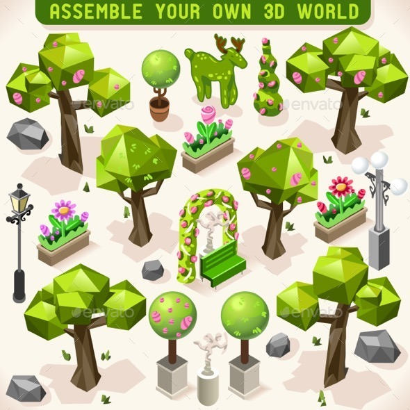 Park Set Lowpoly 3D Isometric - Organic Objects Objects