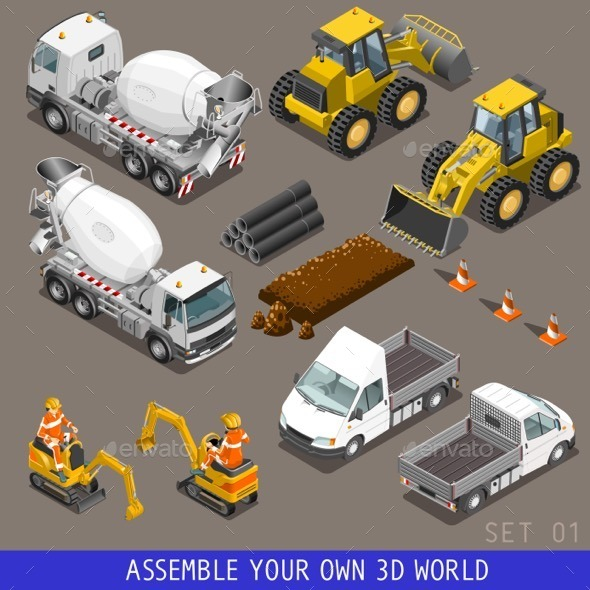 City Construction Transport Isometric Icons - Industries Business