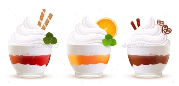 Sweet Summer Desserts Set - Food Objects