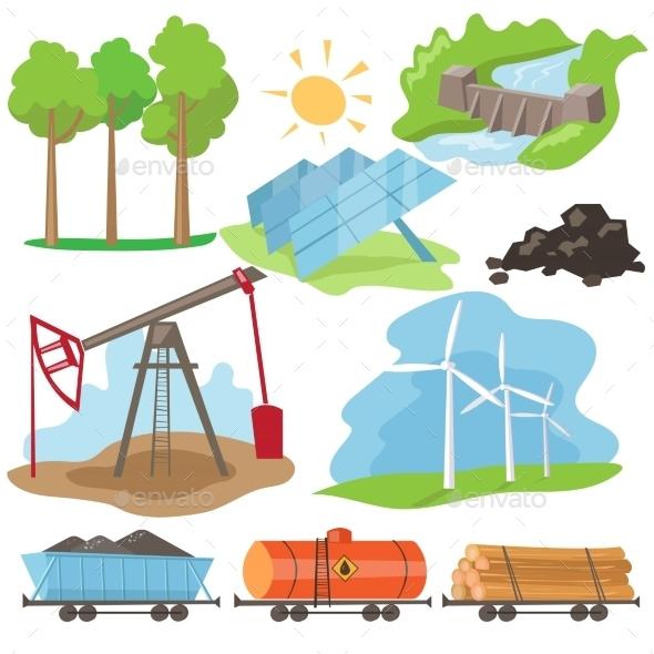 Eco Energy Design Concept Set  - Nature Conceptual