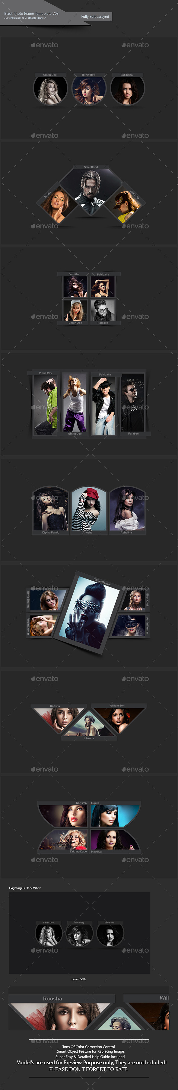 Black Photo Frame Template V03 - Photo Templates Graphics