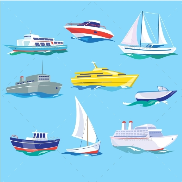 Set Of Sea Ships Water Carriage And Maritime - Objects Vectors