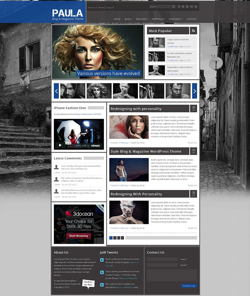 Paula - Blog & Magazine Wordpress Theme by jawtemplates | ThemeForest