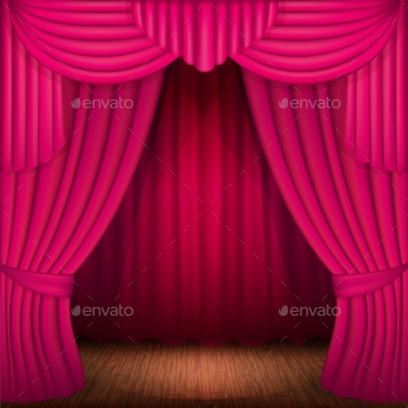 Pink Curtains - Backgrounds Decorative