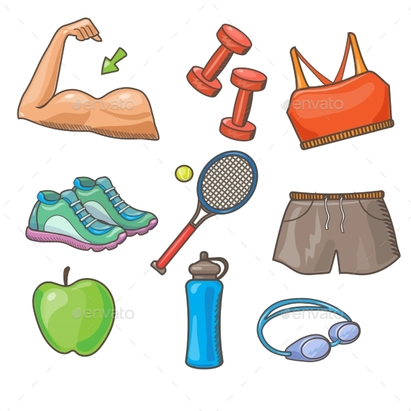 Vector Flat Icons Set Of Fitness Tools - Sports/Activity Conceptual