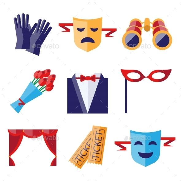 Theater Performance Decorative Icons Set  - Objects Vectors