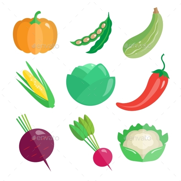 Set Of Fresh Vegetables  - Food Objects
