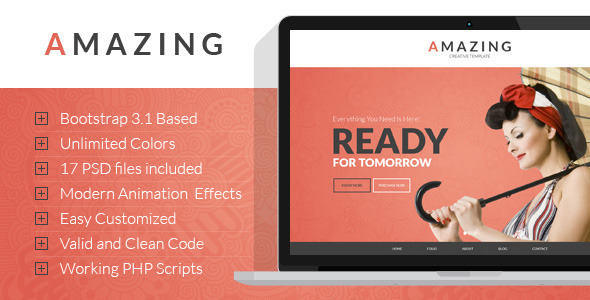 Amazing – Onepage&Multipage Parallax HTML Template