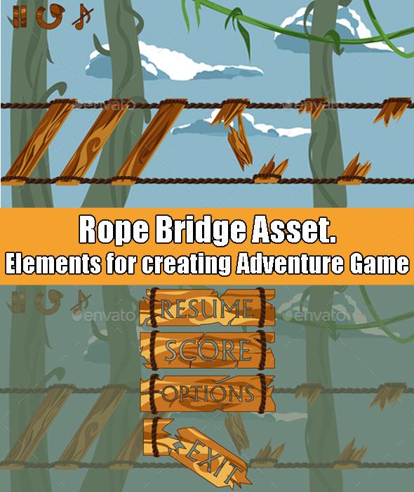 Rope Bridge Adventure Game Asset - Game Assets