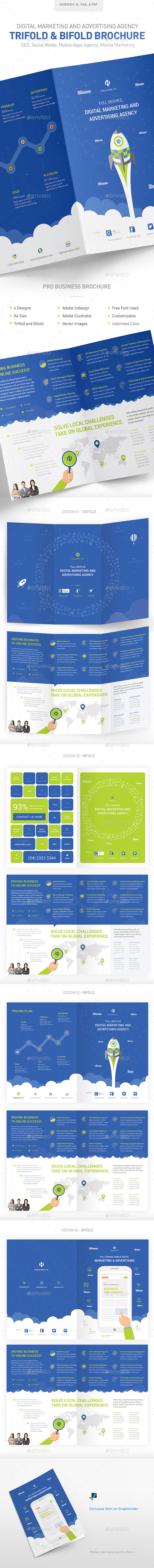 Digital Marketing & Advertising Agency Brochure - Brochures Print Templates