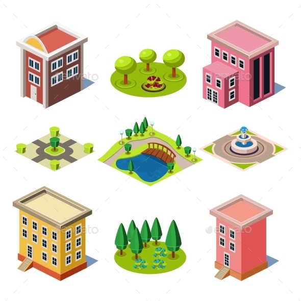 Set Of The Isometric City Buildings And Shops - Buildings Objects