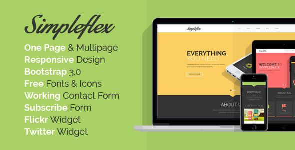 Simpleflex - OnePage & MultiPage Flat HTML templat - Creative Site Templates