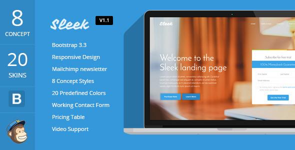 Sleek – Responsive Bootstrap 3 Landing Page