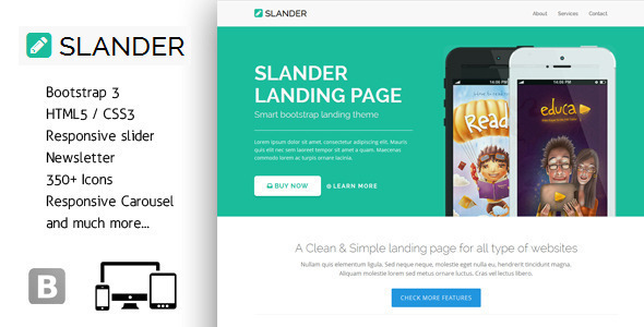 Slander - Responsive Bootstrap HTML5 Landing Page - Landing Pages Marketing