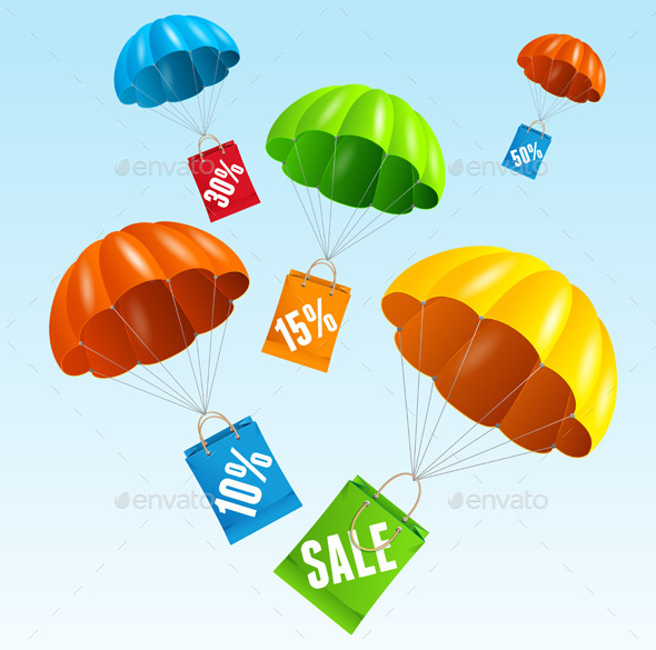 Vector Parachute with Paper Bag Sale in The Sky - Commercial / Shopping Conceptual