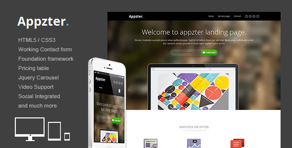 Appzter - Responsive multipurpose landing page - Landing Pages Marketing